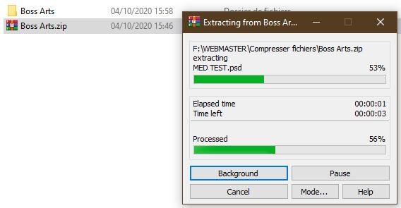 Décompression des fichiers en cours par Boss Arts