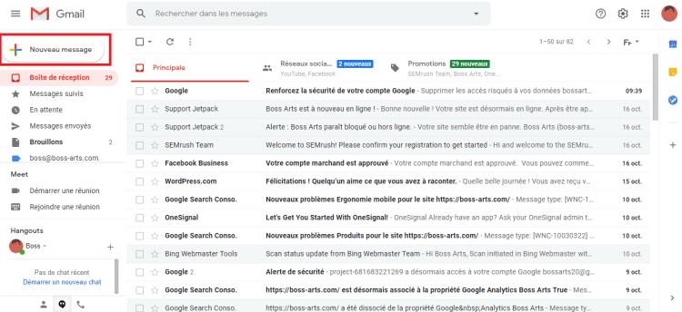 Nouveau message Gmail par Boss Arts