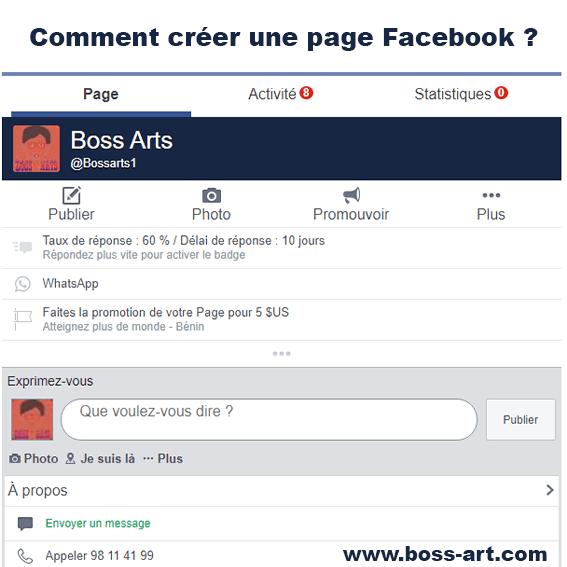 Comment créer une page Facebook par Boss Arts