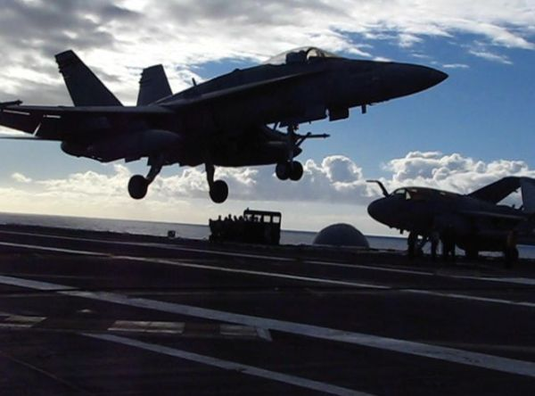 RIMPAC - F/A 18 landing on USS Ronald Reagan