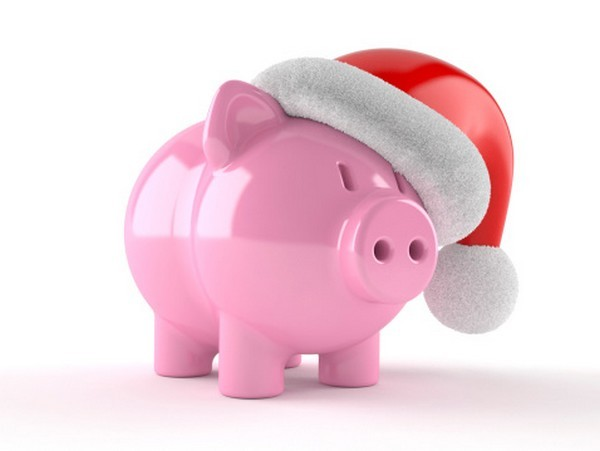 Piggybank with santa hat