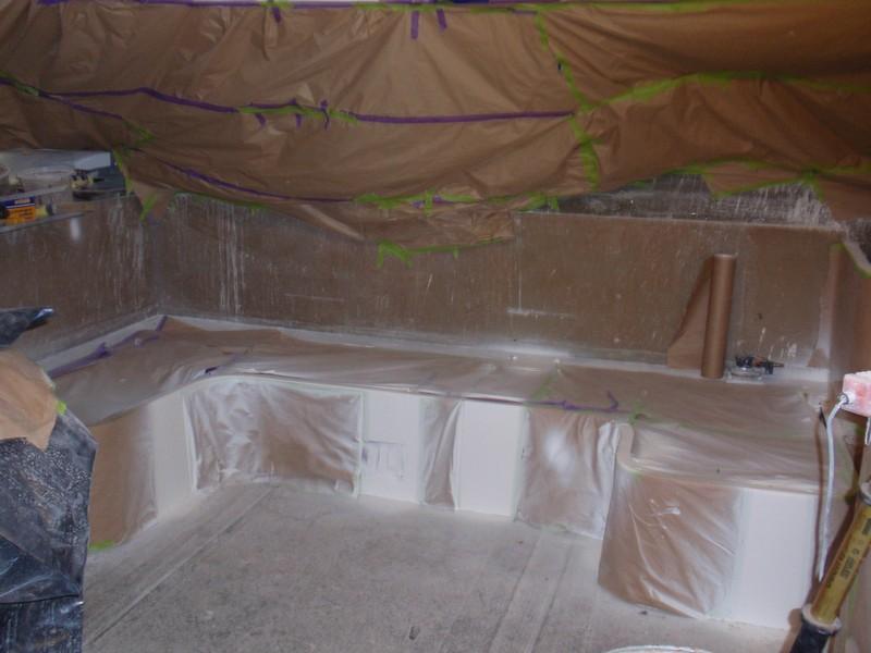 Saloon gelcoat sprayed ready for polishing