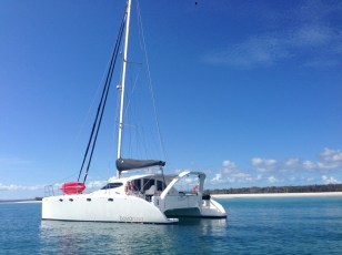 Anchored off Fraser Island.