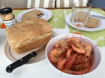 Freshly baked bread with our next feed of locally caught prawns