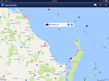 Finally we show up on Marine Traffic ... The Bossa heading to Bundy.
