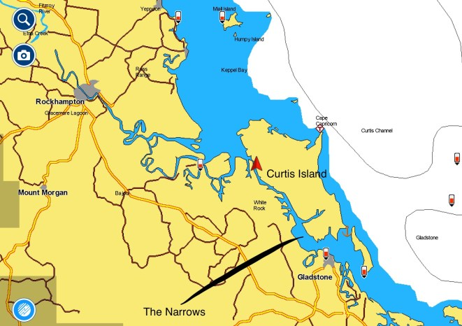 Our path through The Narrows, starting in Gladstone then north to Keppel Bay.