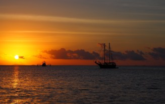 Joshua C ... my 'pirate' ship ... at sunset.