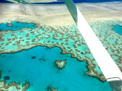 """The """"wow""""!! The Reef & Island flight! Heart Reef ... remember, it's tiny!"""