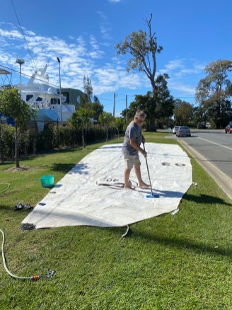 Mainsail repairs meant we had an opportunity to wash the sail. Did it make a difference? We don't think so.