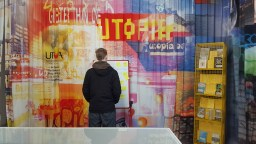 Dafydd observing the Utopia/Socialism Exhibition at Somerset House.