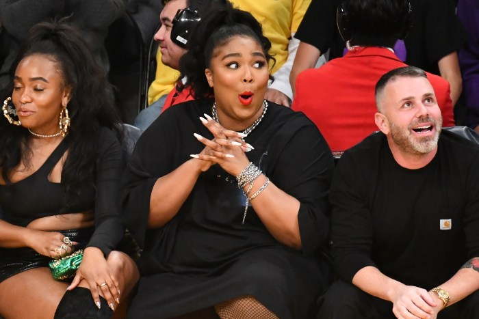 Lizzo attends the lakers game