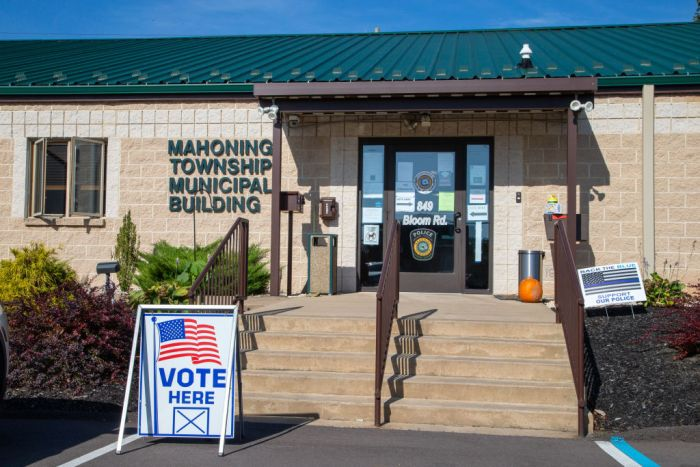 There was no line to vote at the polling place at the...