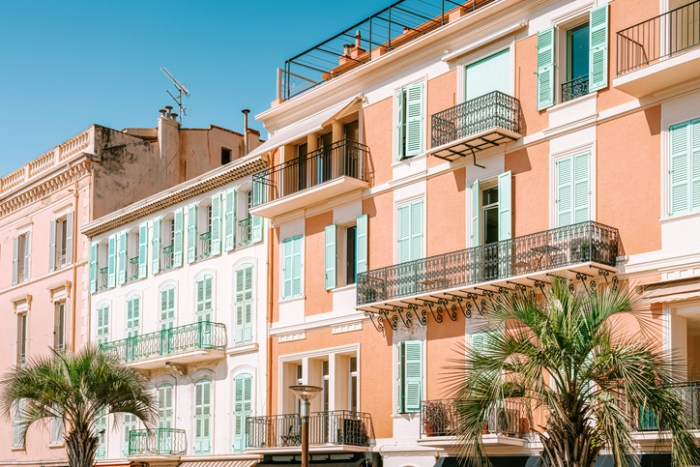 Vintage Architecture Of Historic Houses Downtown City Of Cannes