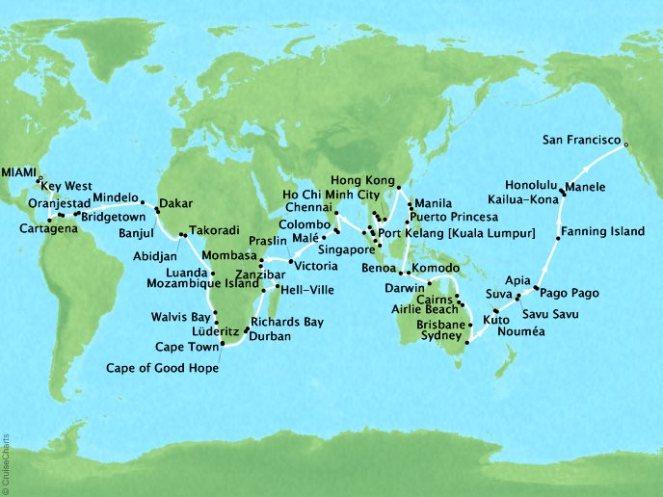 Seabourn World Cruise – Extraordinary Destinations MAP