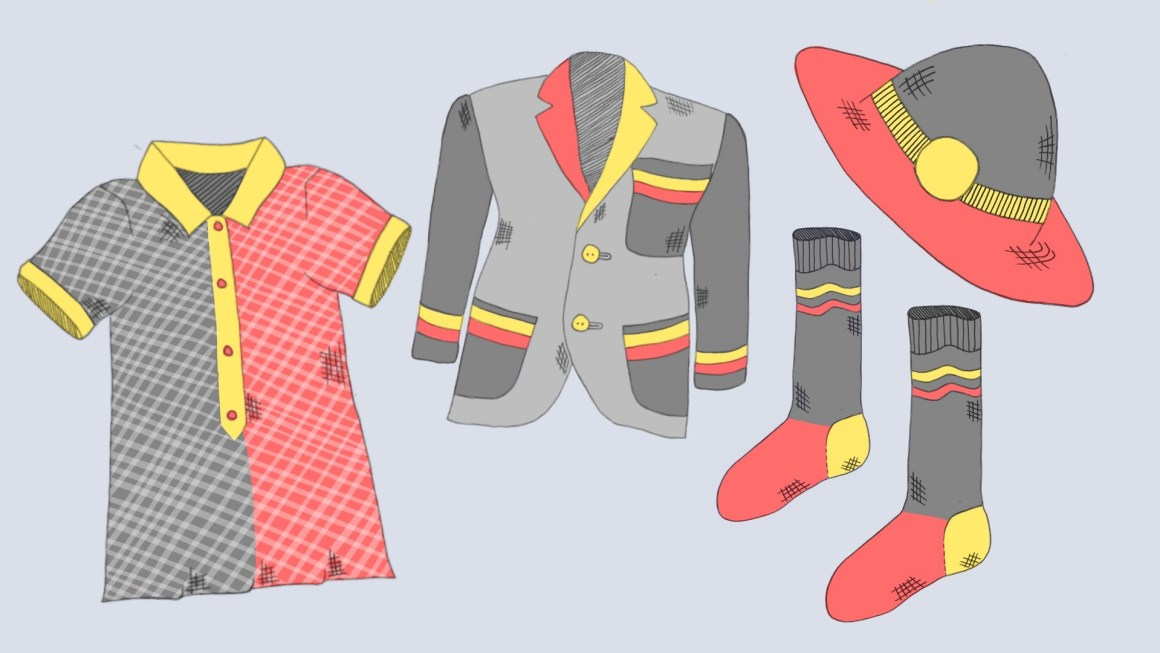 A school dress, blazer, socks, and hat; all illustrated in the colours of the Australian Aboriginal flag.
