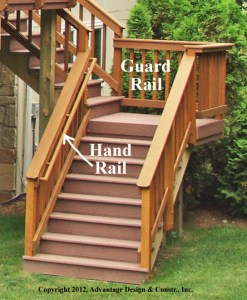 Stairs on deck in Sudbury, MA