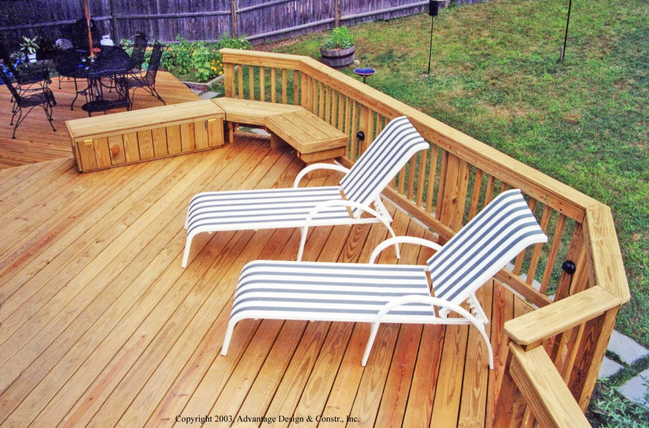 Pressure treated deck with bench