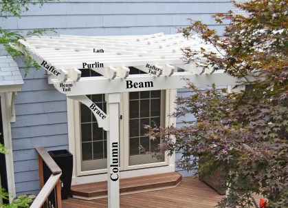 Pergola with Laths Labeled, Winchester MA