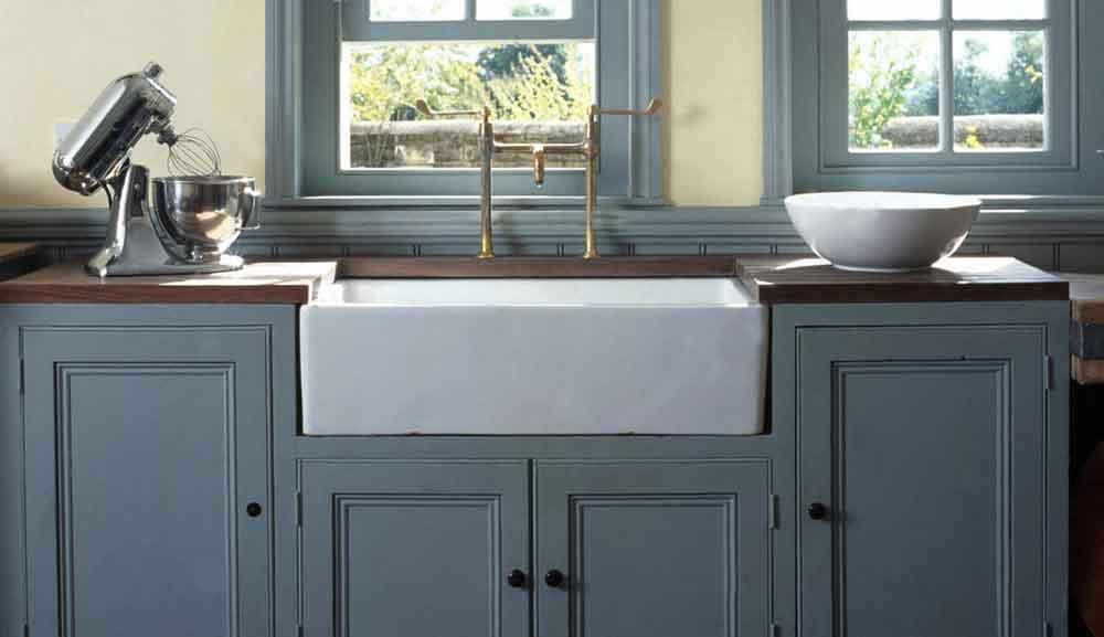 blue farmhouse apron front sink