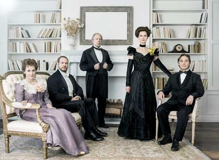 Laura Linney as Birdie Hubbard, Darren Goldstein as Oscar Hubbard, Michael McKean as Ben Hubbard, Cynthia Nixon as Regina Giddens, Richard Thomas as Horrace Giddens in 'The Little Foxes'