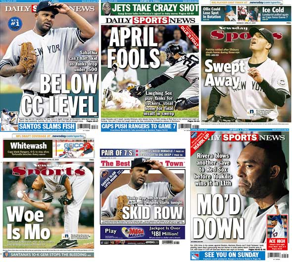 New York tabloid recent back pages