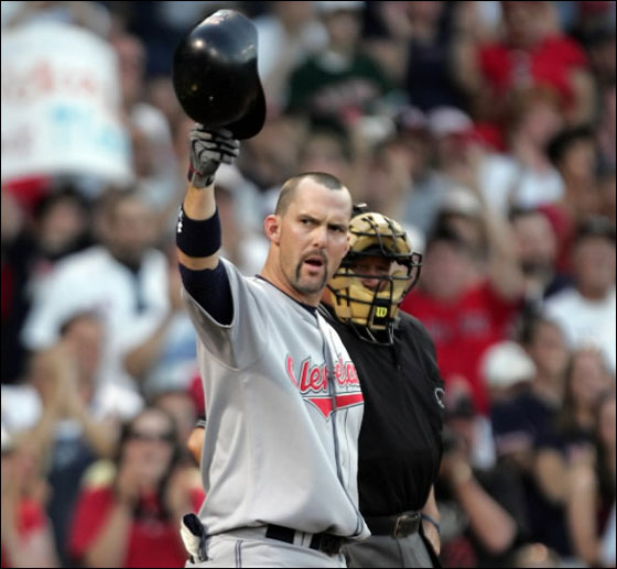 Trot Nixon the Cleveland Indians outfielder tips his helmet to the crowd after an ovation on his first at bat against the Red Sox at Fenway Park Monday May 28 2007.