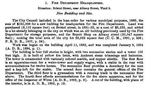 1900 Special city publication on the Dept. Headquarters and firehouse at 60 Bristol St., South End.