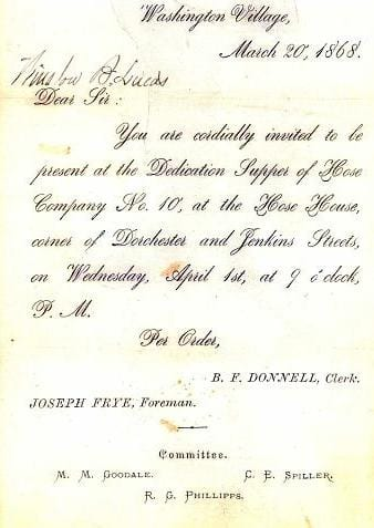 An invitation was written announcing the Dedication Supper of Hose Company 10.