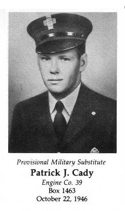 Provisional Military Substitute Patrick J. Cady, Engine Company 39, LODD October 22, 1946.