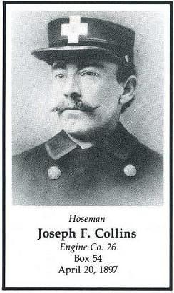 Photo of Hoseman Joseph F. Collins, LODD April 20, 1897.