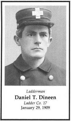 Photo of Ladderman Daniel T. Dineen, Ladder Company 17, LODD 1/29/1909.