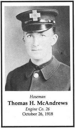 Hoseman Thomas H. McAndrews, LODD October 26, 1918.