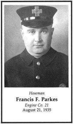 Photo of Hoseman Frank J. Parkes, Engine Company 21, LODD August 21, 1935.