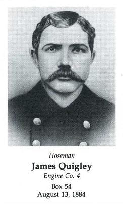 Photo of Hoseman James Quigley, LODD 8/13/1884.