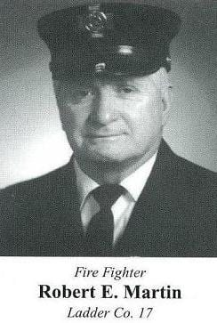 Photo of Fire Fighter Robert E. Martin, Ladder Company 17, in 2002.