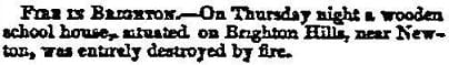 Newspaper report of a schoolhouse fire in Brighton in 1855