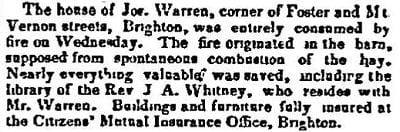 1852 Boston Atlas newspaper story of a house fire at Foster & Mt. Vernon Sts.