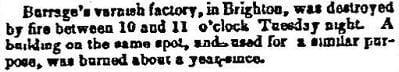 1852 Boston Atlas newspaper story of a varnish factory fire in Brighton.