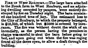 Newspaper report of a fire in West Roxbury on August 10, 1854