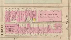 Location of the Hotel Vendome, 1928 map.