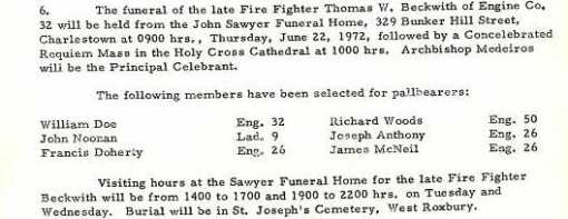 Funeral detail for Fire Fighter Thomas W. Beckwith.