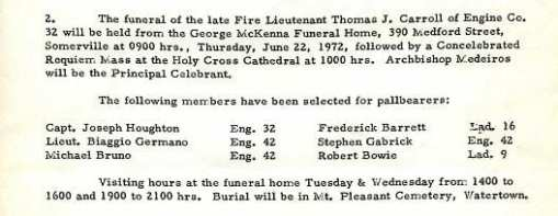 Funeral detail for Fire Lieutenant Thomas J. Carroll.