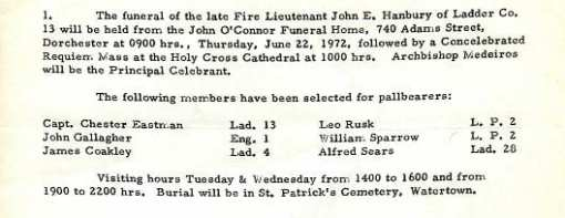 Funeral detail for Fire Lieutenant John E. Hanbury.
