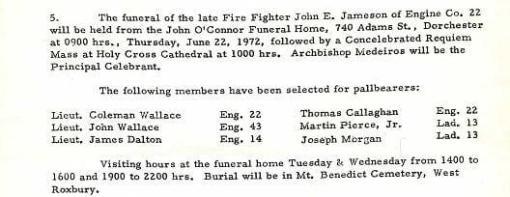 Funeral detail for Fire Fighter John E. Jameson.