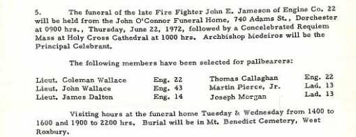 Funeral detail for Fire Fighter John E. Jameson.