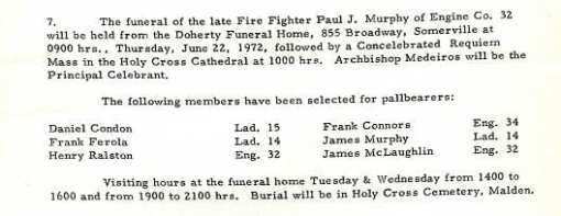 Funeral detail for Fire Fighter Paul J. Murphy.