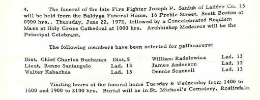 Funeral detail for Fire Fighter Joseph P. Saniuk.