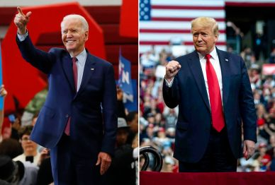 Former vice president Joe Biden (left) and President Trump (right).