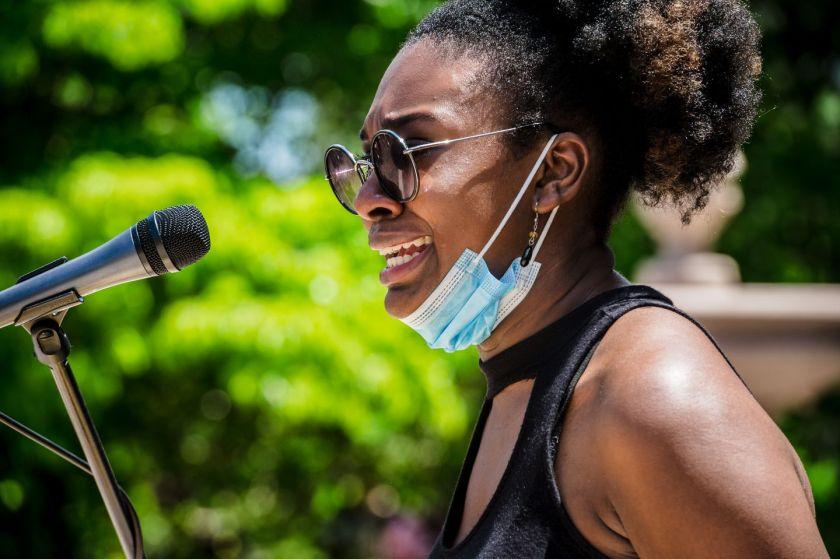 Doralee Heurtelou, a 2020 graduate of Arlington High School, spoke during the protest against racism at Arlington Town Hall.