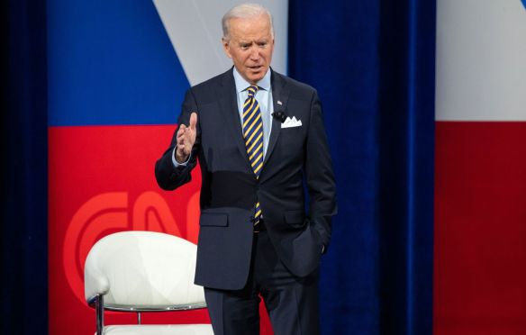 President Joe Biden participated in a town hall at the Pabst Theater in Milwaukee, Wis. on Tuesday.